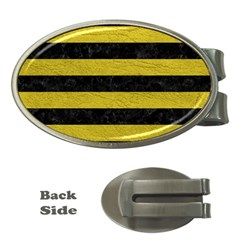 Stripes2 Black Marble & Yellow Leather Money Clips (oval)