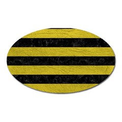 Stripes2 Black Marble & Yellow Leather Oval Magnet