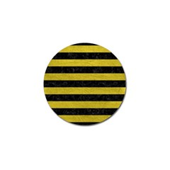 Stripes2 Black Marble & Yellow Leather Golf Ball Marker (4 Pack)