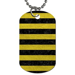 Stripes2 Black Marble & Yellow Leather Dog Tag (two Sides)