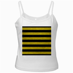 Stripes2 Black Marble & Yellow Leather Ladies Camisoles