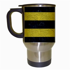 Stripes2 Black Marble & Yellow Leather Travel Mugs (white)