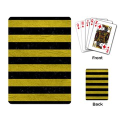 Stripes2 Black Marble & Yellow Leather Playing Card
