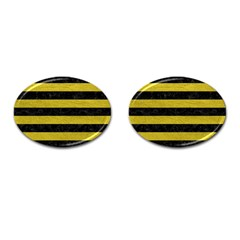 Stripes2 Black Marble & Yellow Leather Cufflinks (oval)