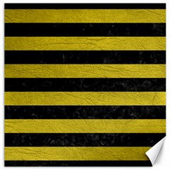 Stripes2 Black Marble & Yellow Leather Canvas 20  X 20