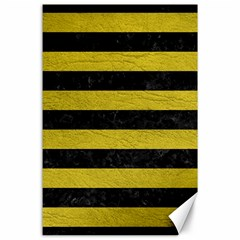 Stripes2 Black Marble & Yellow Leather Canvas 24  X 36