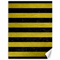 Stripes2 Black Marble & Yellow Leather Canvas 36  X 48