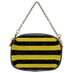 Stripes2 Black Marble & Yellow Leather Chain Purses (one Side)
