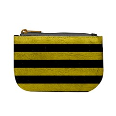 Stripes2 Black Marble & Yellow Leather Mini Coin Purses