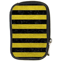 Stripes2 Black Marble & Yellow Leather Compact Camera Cases