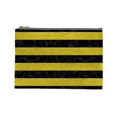 Stripes2 Black Marble & Yellow Leather Cosmetic Bag (large)