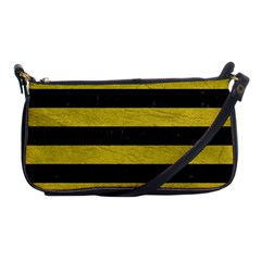 Stripes2 Black Marble & Yellow Leather Shoulder Clutch Bags