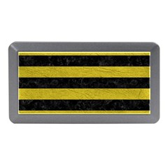 Stripes2 Black Marble & Yellow Leather Memory Card Reader (mini)
