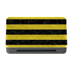 Stripes2 Black Marble & Yellow Leather Memory Card Reader With Cf
