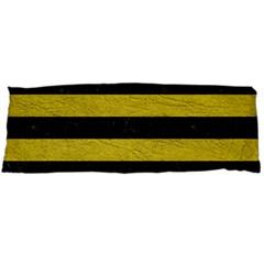 Stripes2 Black Marble & Yellow Leather Body Pillow Case (dakimakura)