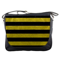 Stripes2 Black Marble & Yellow Leather Messenger Bags