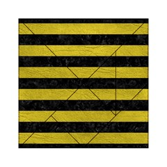 Stripes2 Black Marble & Yellow Leather Acrylic Tangram Puzzle (6  X 6 )