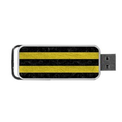 Stripes2 Black Marble & Yellow Leather Portable Usb Flash (one Side)