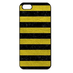 Stripes2 Black Marble & Yellow Leather Apple Iphone 5 Seamless Case (black)