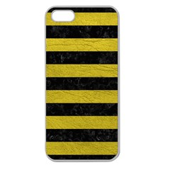 Stripes2 Black Marble & Yellow Leather Apple Seamless Iphone 5 Case (clear)