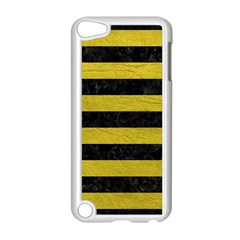Stripes2 Black Marble & Yellow Leather Apple Ipod Touch 5 Case (white)
