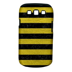 Stripes2 Black Marble & Yellow Leather Samsung Galaxy S Iii Classic Hardshell Case (pc+silicone)