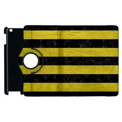 Stripes2 Black Marble & Yellow Leather Apple Ipad 3/4 Flip 360 Case