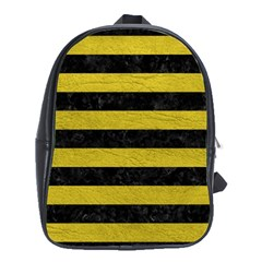 Stripes2 Black Marble & Yellow Leather School Bag (xl)