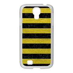 Stripes2 Black Marble & Yellow Leather Samsung Galaxy S4 I9500/ I9505 Case (white)