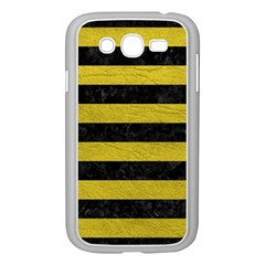 Stripes2 Black Marble & Yellow Leather Samsung Galaxy Grand Duos I9082 Case (white)