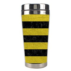 Stripes2 Black Marble & Yellow Leather Stainless Steel Travel Tumblers
