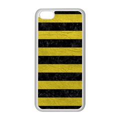 Stripes2 Black Marble & Yellow Leather Apple Iphone 5c Seamless Case (white)