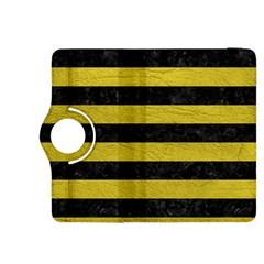 Stripes2 Black Marble & Yellow Leather Kindle Fire Hdx 8 9  Flip 360 Case