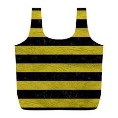 Stripes2 Black Marble & Yellow Leather Full Print Recycle Bags (l)