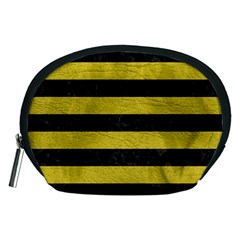 Stripes2 Black Marble & Yellow Leather Accessory Pouches (medium)