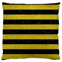 Stripes2 Black Marble & Yellow Leather Large Flano Cushion Case (two Sides)