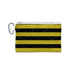 Stripes2 Black Marble & Yellow Leather Canvas Cosmetic Bag (s)