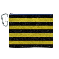 Stripes2 Black Marble & Yellow Leather Canvas Cosmetic Bag (xl)
