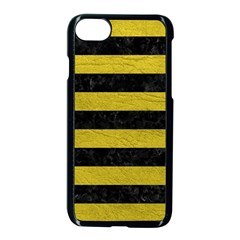 Stripes2 Black Marble & Yellow Leather Apple Iphone 8 Seamless Case (black)