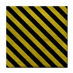 Stripes3 Black Marble & Yellow Leather Tile Coasters