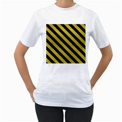 Stripes3 Black Marble & Yellow Leather Women s T Shirt (white) (two Sided)