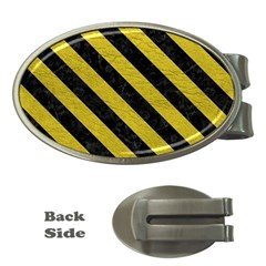 Stripes3 Black Marble & Yellow Leather Money Clips (oval)