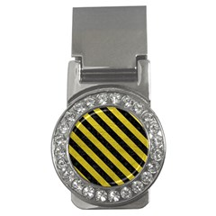 Stripes3 Black Marble & Yellow Leather Money Clips (cz)