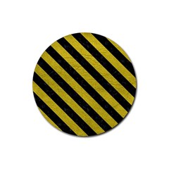 Stripes3 Black Marble & Yellow Leather Rubber Round Coaster (4 Pack)