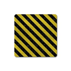 Stripes3 Black Marble & Yellow Leather Square Magnet