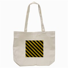 Stripes3 Black Marble & Yellow Leather Tote Bag (cream)