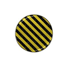Stripes3 Black Marble & Yellow Leather Hat Clip Ball Marker (10 Pack)