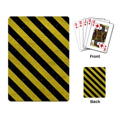 Stripes3 Black Marble & Yellow Leather Playing Card