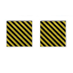 Stripes3 Black Marble & Yellow Leather Cufflinks (square)