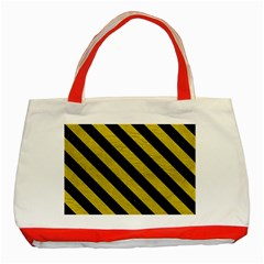 Stripes3 Black Marble & Yellow Leather Classic Tote Bag (red)